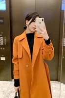 double sided cashmere coat womens 2021 autumn and winter new korean version high end woolen temperament over the knee medium
