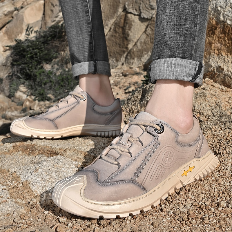 Designer Natural Leather Men Shoes Lace Up Flats Footwear Outdoor Shoes Men Quality Walking Casual Shoes Zapatos Hombre breathable outdoor shoes men breathable lace up casual shoes flats quality comfortable men shoes zapatos hombre