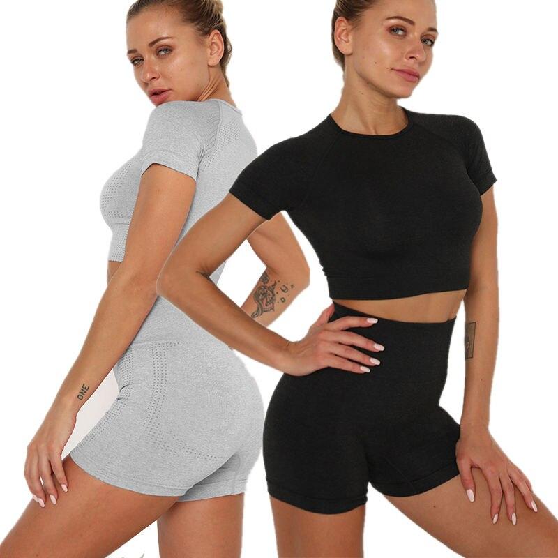 Conjunto de ropa de Yoga para mujer sin costuras, camisetas y pantalones cortos para Fitness, traje deportivo para mujer, pantalón corto para correr, chándal de manga corta CYF186