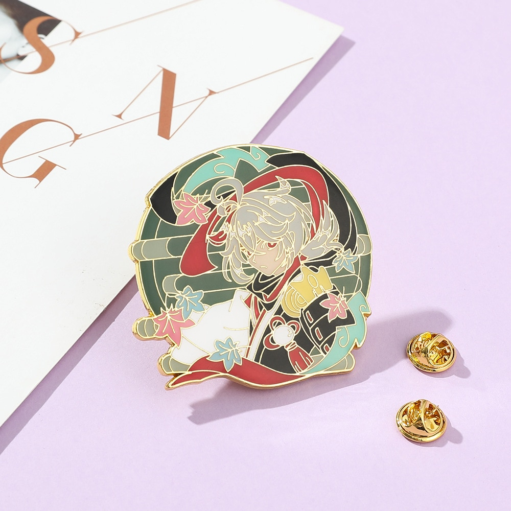 Geshin Figures Kaedehara Kazuha Alloy Jewelry Brooches Game Character Cartoon Animation Peripheral Badges for Bags Friends Gifts