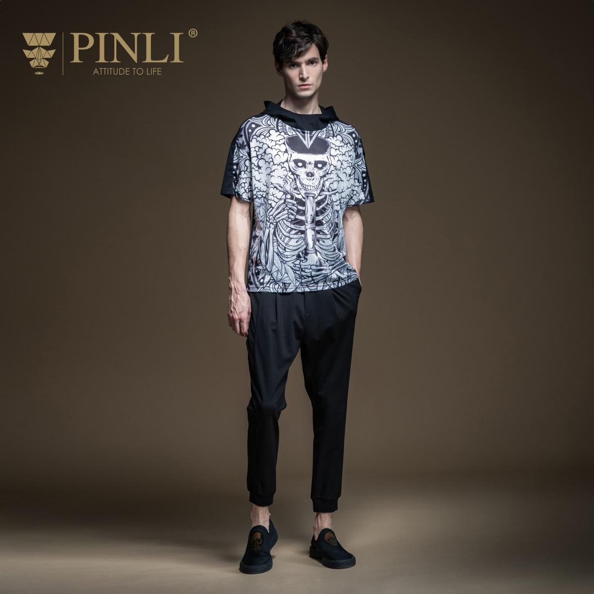 Pinli 2020 Summer New O-neck Slim Hooded Panel Gothic Printed Assembling Material Casual Men Short Sleeve T-shirt Hot B202511234