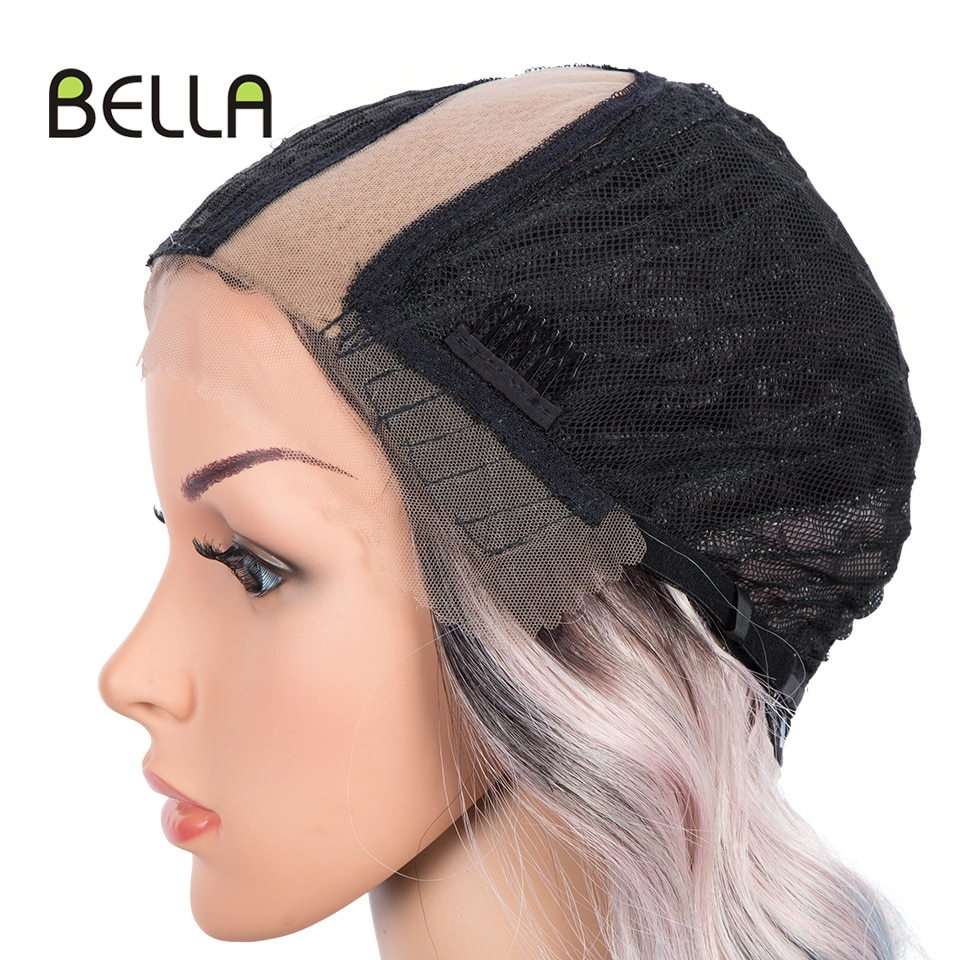BELLA Non-Lace Wig Cosplay Party Body Pink Green Red Blonde Black Root Gradient Color Side Part Heat Resistant Wigs For Women