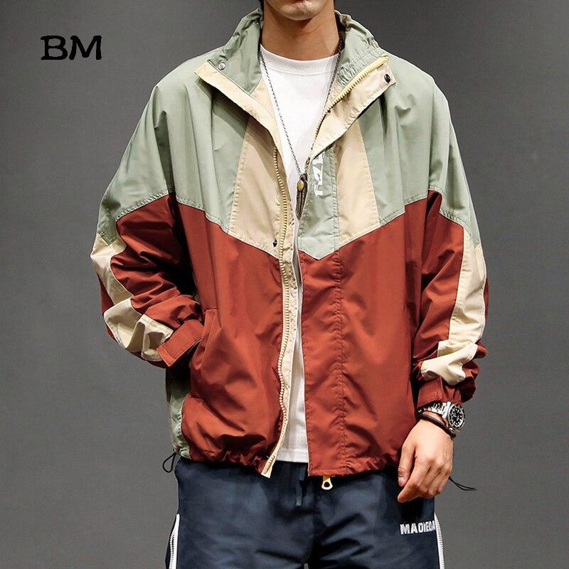 Streetwear costura Stand Collar chaqueta deportiva masculina Harajuku japonés delgada Casual abrigo moda Kpop ropa coreana hombres ropa