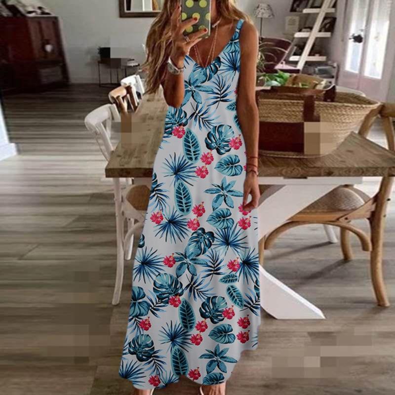 Summer Women Dress Sling Floral Long Dresses Boho V-Neck Sleeveless Beach Floral Print Maxi Dress Casual Style Sundress