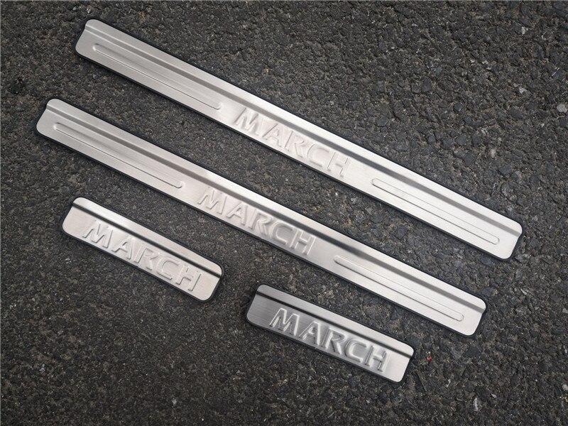 Accesorios de coche de placa de desgaste de umbral de puerta de acero inoxidable para Nissan March 2011-2019