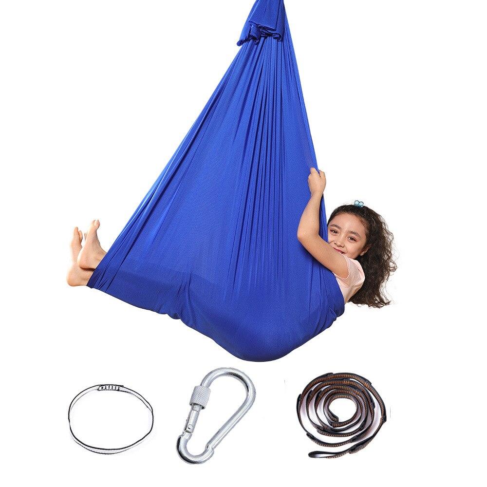 Amazon hot model children elastic hammock indoor and outdoor swing children sensory swing yoga hammock factory