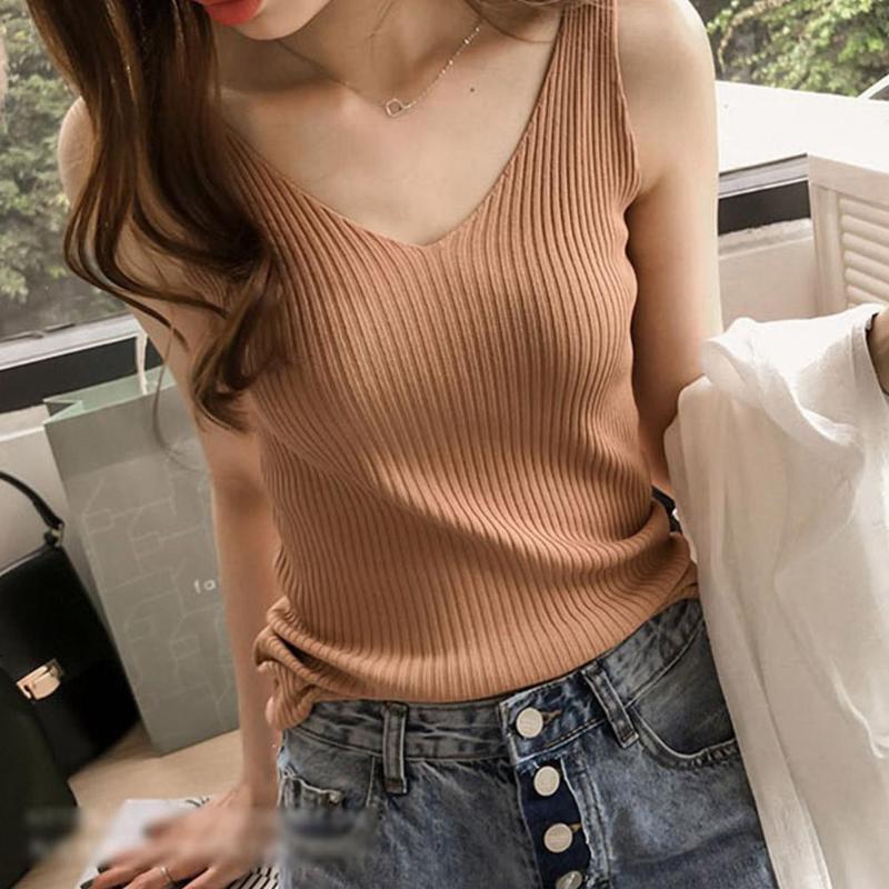 Camiseta sem mangas de malha feminina verão cor pura sexy com decote em v