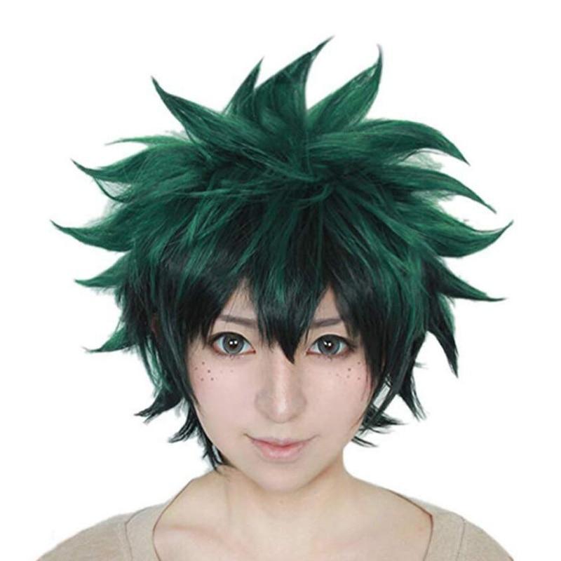 Anime Cosplay Deku Wigs Dark Green Synthetic Hair Wigs for My Boku no Hero Academia Midoriya Izuku Costume Wig + Wig Cap