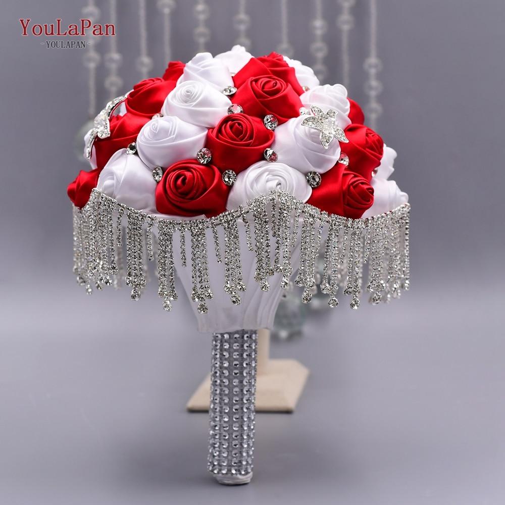 YouLaPan SF4-WRD رائع الزفاف الزهور الزفاف باقات الكريستال البريق الأحمر روز الزفاف باقة أصحاب مع شرابة