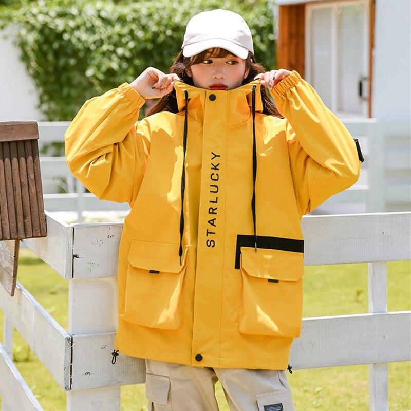 Harajuku veste oversize femmes 2020 automne salopette BF Style ample à capuche veste de Baseball Streetwear jaune Chaqueta Mujer