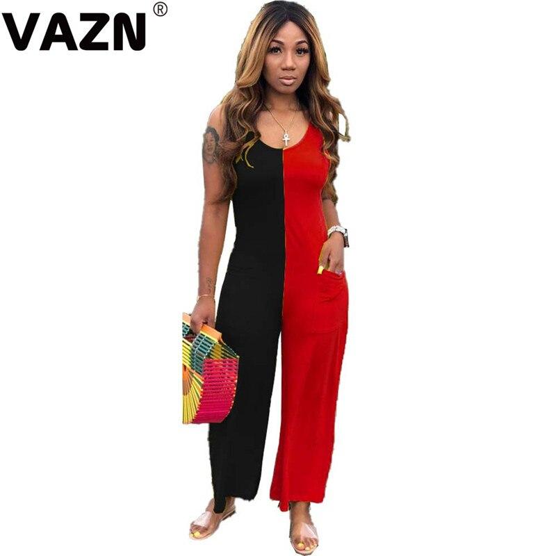 VAZN 2020 été nouveau sans surtension Patchwork Sexy jeune vacances Style débardeur Nature haut femmes longues jambes larges combinaisons