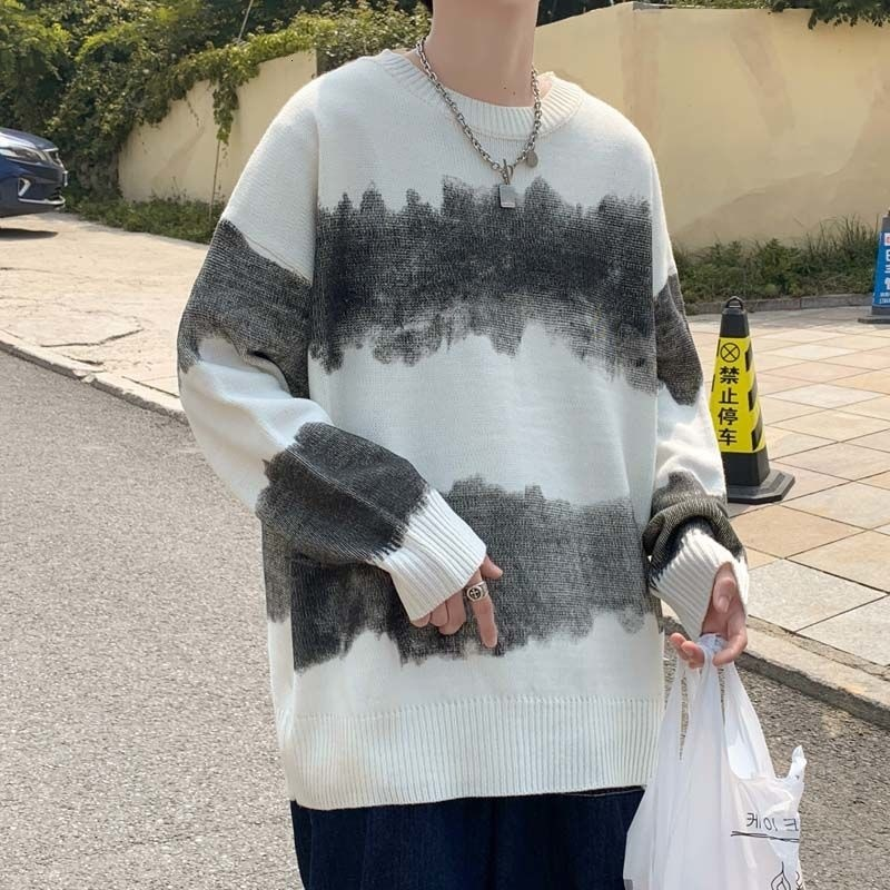 HYBSKR Oversize Striped Men Sweater Autumn Korean Style Fashion Harajuku Pullovers Loose Male Knitted Sweater Men's Clothing