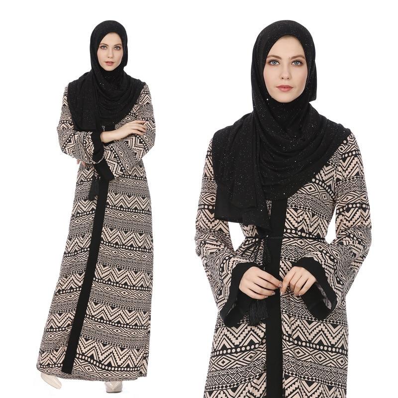Roupa islâmica muçulmano kaftan abaya vestido mulher dubai árabe laço-up splice longa robe islam étnico caftan kimono vestidos jubah