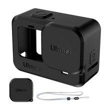 Силиконовый защитный чехол Ulanzi + чехол для объектива, чехол для Hero 9, черный чехол с рукавом, рамка с ремешком, Аксессуары для камер