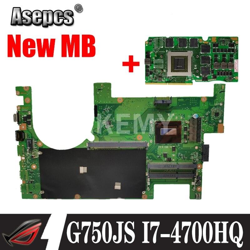 Akemy G750JS اللوحة الرئيسية I7-4700HQ وحدة المعالجة المركزية لأجهزة الكمبيوتر المحمول For Asus G750JS G750J اللوحة الأم 100% اختبار دعم بطاقة الرسومات GTX870M