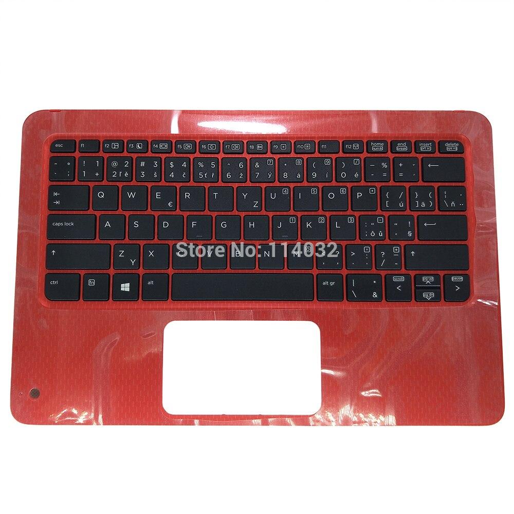 Teclado portátil para HP Probook X360 11 G1 G2 EE CZ versión checa CS negro kb rojo Topcase rojo palmrest 6070B1118401 6037B0129334