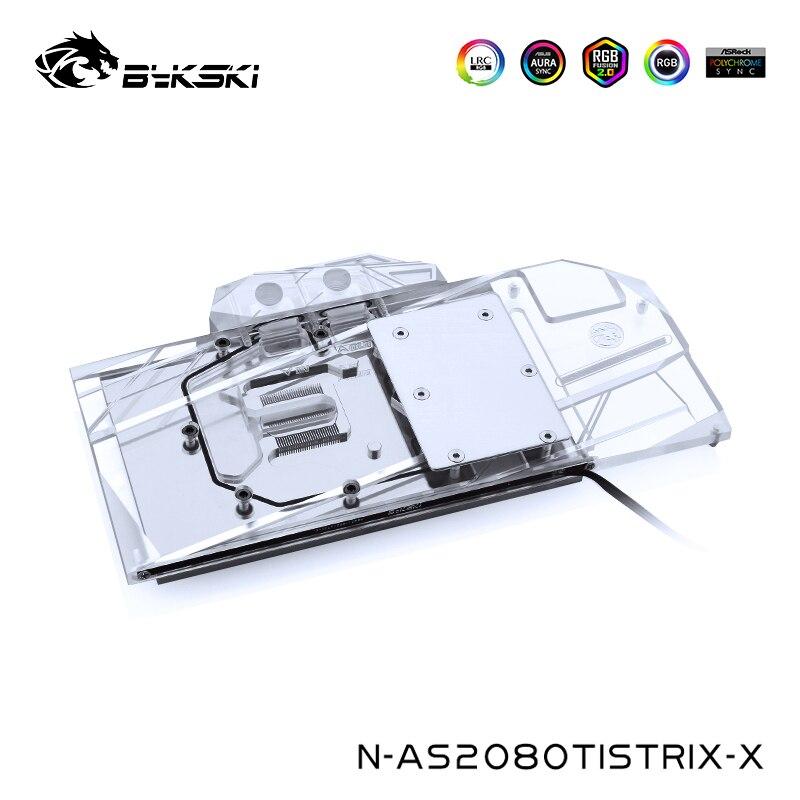 Bykski كتلة تبريد المياه لأسوس ROG STRIX GTX 2080TI ، كتلة VGA ، GPU برودة ، 12 فولت 4pin ، 5 فولت 3pin رأس ضوء ، N-AS2080TISTRIX-X