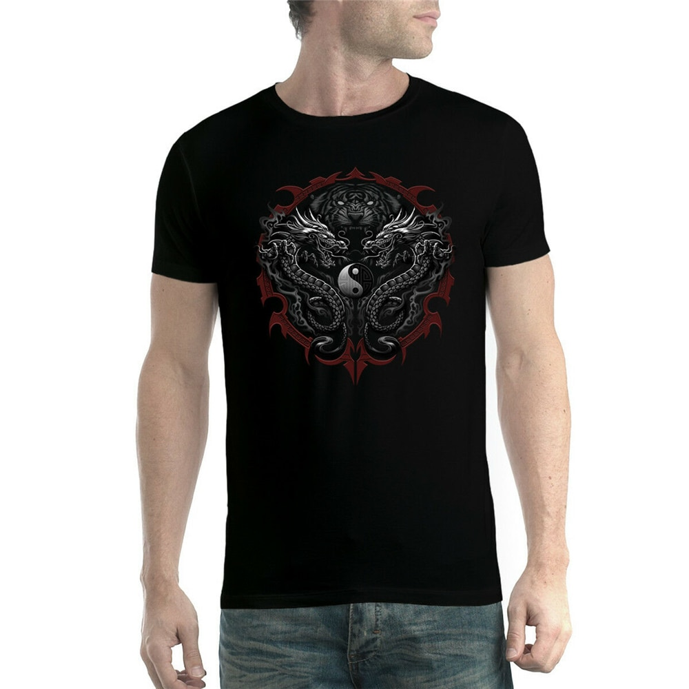 Camisa Xs-3Xl nova popular tagless camiseta dos homens do tigre de bengala dragões taijitu