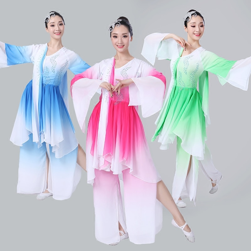 Ancient chinese costume hanfu  classical dance costume elegant sleeves national costume Yangko  dance costume stage performance 4000784951877 фото