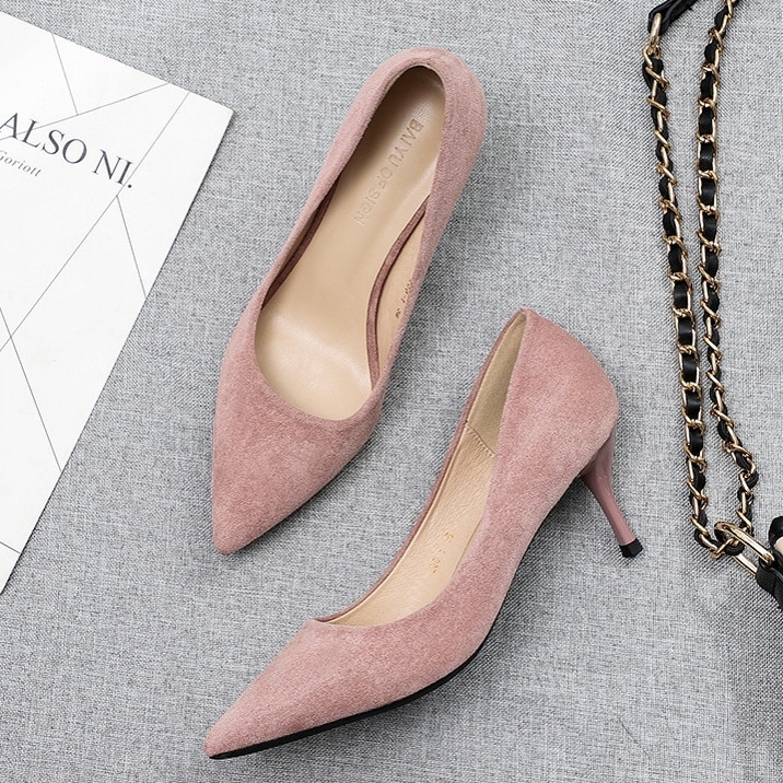 Women Shoes Pointed Toe Pumps Red Black 6.5CM High Heels Work Office Wedding Shallow Sexy Fashion P0024