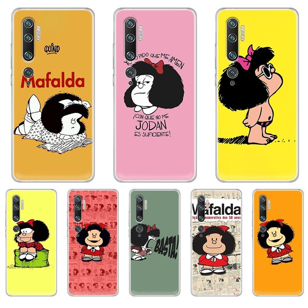 Mafalda silicone luxo etui coque transparente caso do telefone capa casco para xiaomi mi 3 4 5 5x 8 9 10 se max pro a2 9t nota lite