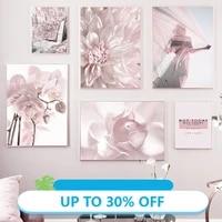 Affiches de peinture sur toile femme de montagne avec fleur rose  tableau dart mural pour decoration de salon  decoration de maison