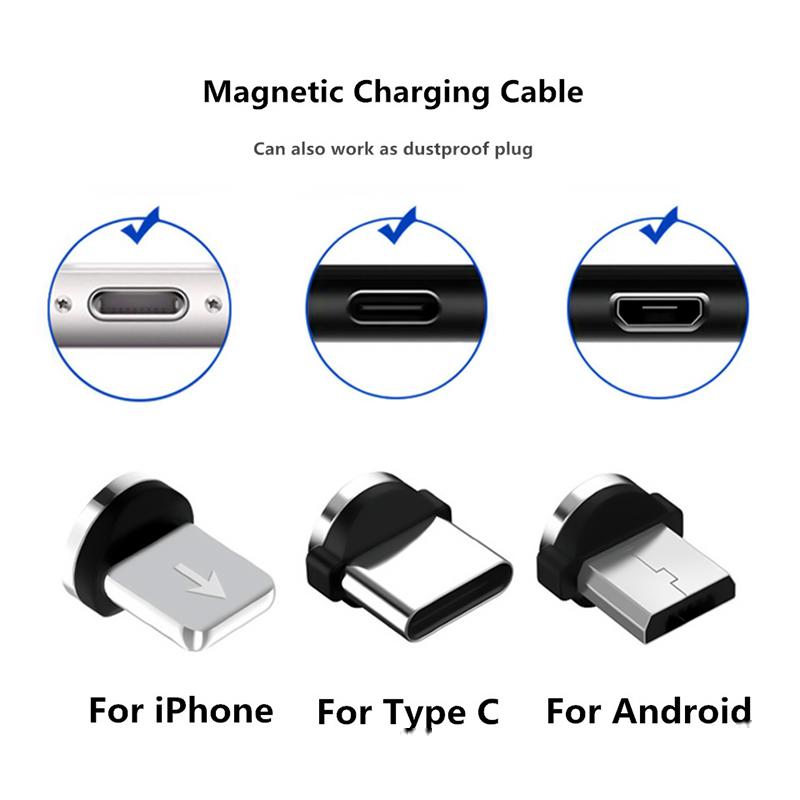Magnetic cable plug is suitable for USB/C type/Iphone cable jack adapter, mini plug Android fast charging USB charger cable plug