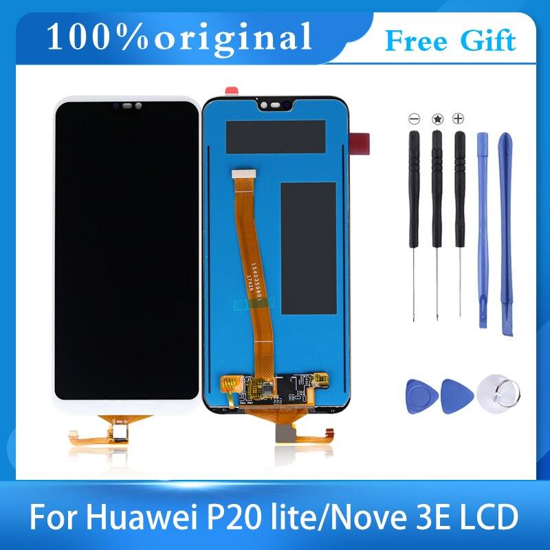 """5.84 """"2280x1080 original lcd p20 lite ane-lx3 nova 3e ips display para huawei p20 lite lcd substituição da tela de toque com quadro"""