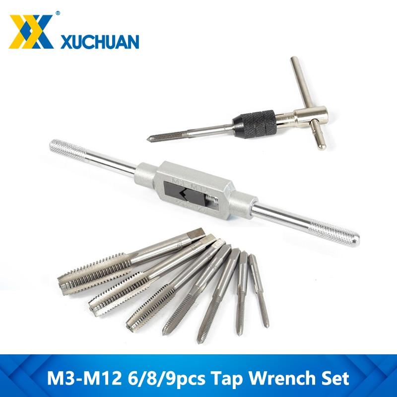 6/8/9pcs M3-M12 Tap Wrench Drill Set Hand Tapping Tools Metric Screw Thread Tap Twist Drill Bit Wrench Set