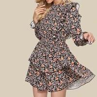 autumn womens casual floral print dress 2021 boho long sleeve woman fashion female loose ruffles mini dresses for robe femme