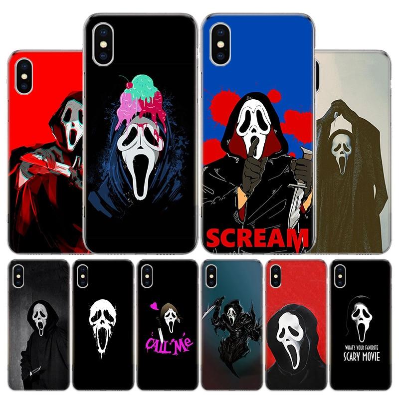 Ghostface gritar caja del teléfono para Apple Iphone 11 12 Mini Pro X XR XS Max 7 7 6 6S Plus 5 SE 7G 6G + arte cubierta Coque Capa Shell
