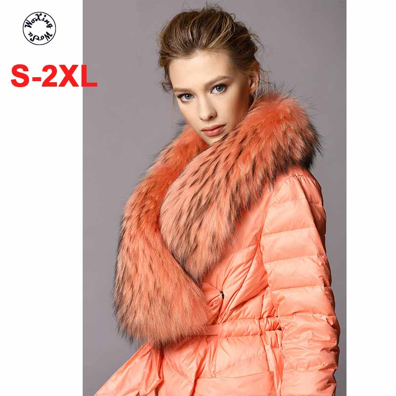 Фото - Woxingwosu long white duck down coat heavy raccoon fur collar warm long down coat пуховик long down jkt 1