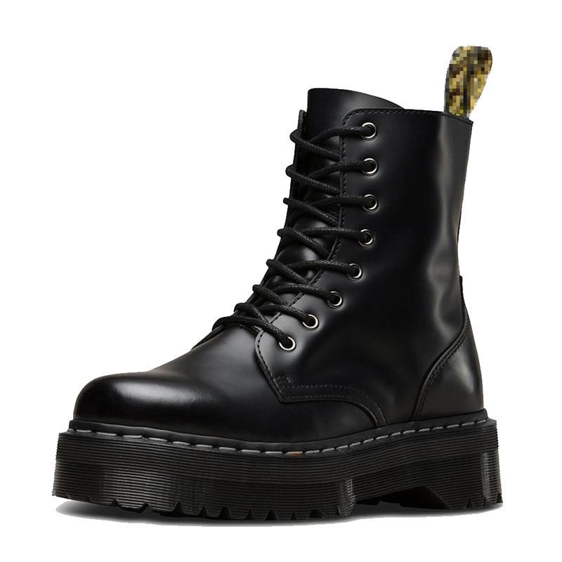 Botines de tacón grueso de Invierno para mujer, botas de piel auténtica, botas Martenss negras, botines de mujer, zapatos de moto 35-41