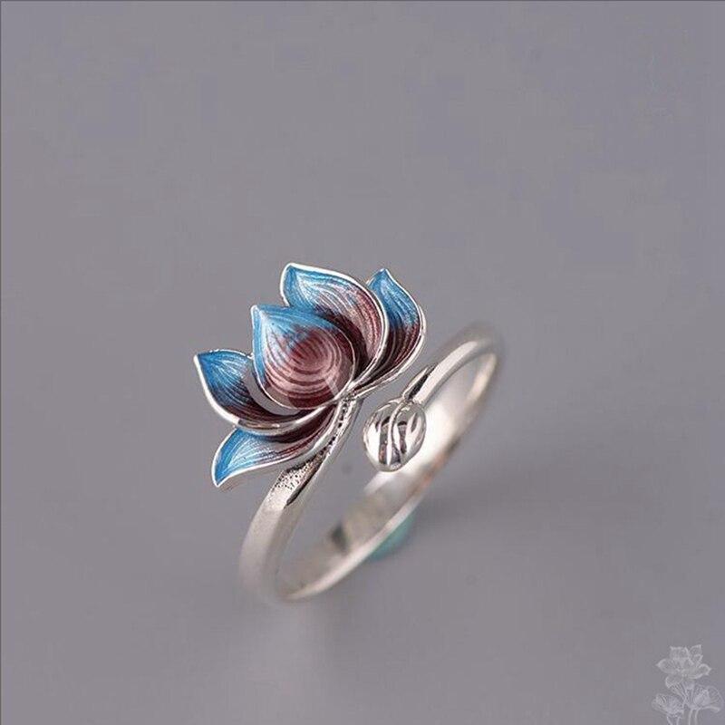 Luxo vintage aberto ajustável toe anéis flor de lótus anel jóias para meninas acessórios exclusivos jóias
