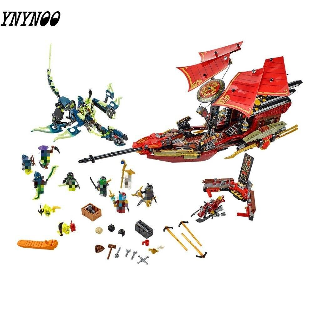Bloques de construcción Ninjagoe, juguetes de lepining compatibles para niños, modelo de bloques Ninjagoe 70738, vuelo Final de la recompensa del destino