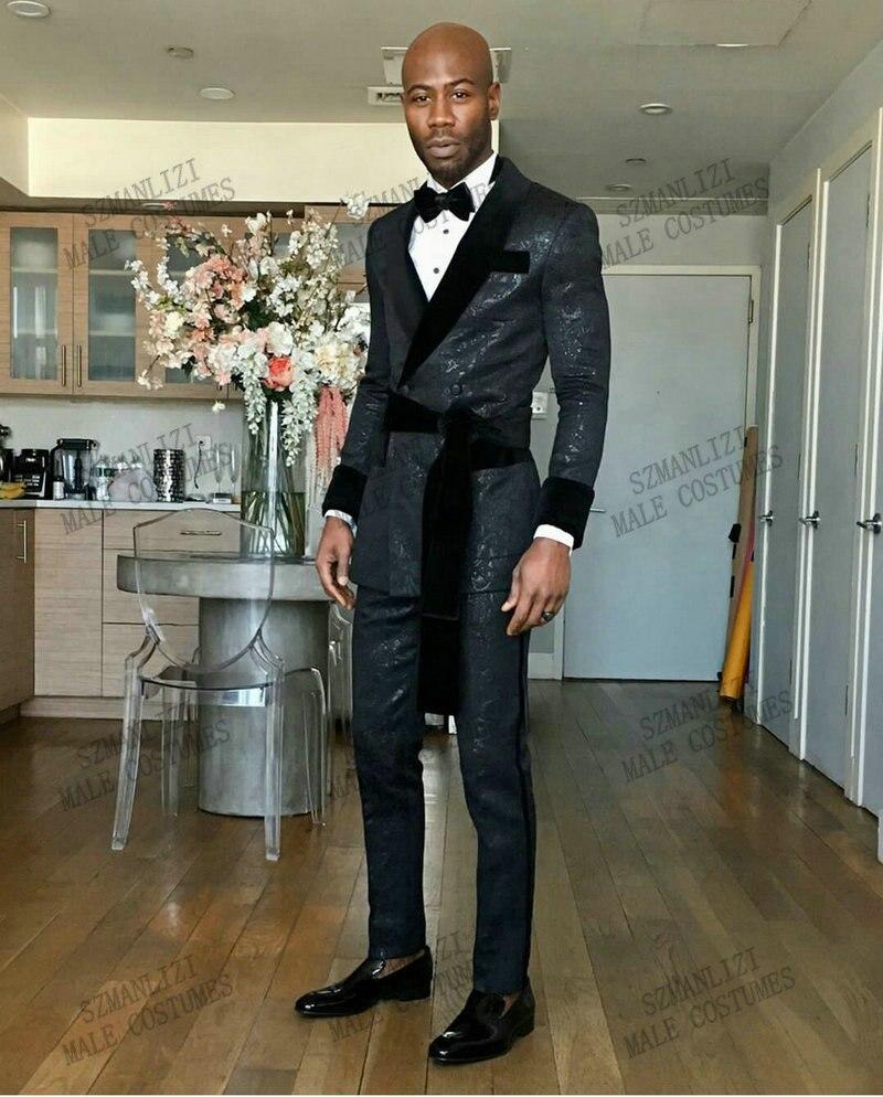 بدلة جاكار بنمط زهور للرجال ، شال مخملي ، طية صدر السترة ، نحيف ، مزدوج الصدر ، أسود ، حفلة موسيقية ، بدلة زفاف ، 2021