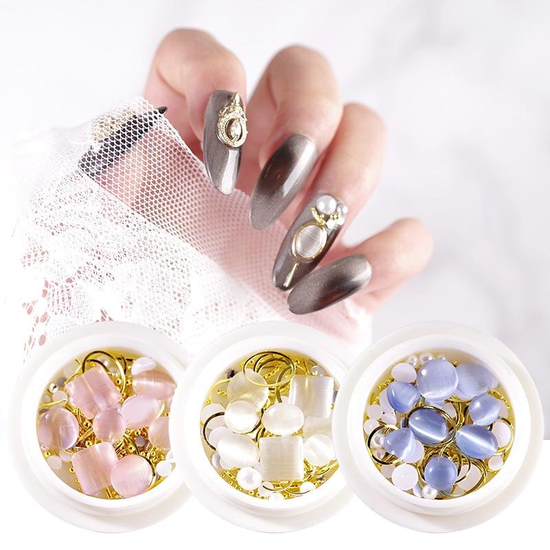 3 colores/juego 3D de fondo plano de uñas ojo de gato piedra gotas de agua cuadradas tachuelas gemas AB Opal Rhinestone mezcla remaches decoraciones herramienta