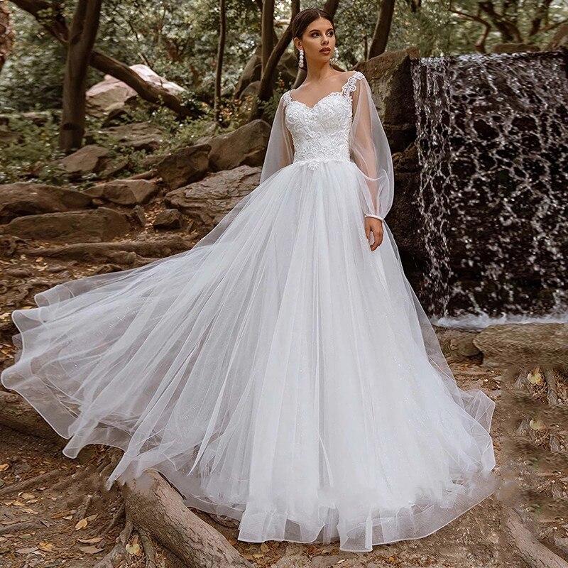 Get 2021 Bohemian Sweetheart Wedding Dresses Long Sleeve Backless Illusion Tulle A Line Elegant Vestidos De Noiva For Women Custom