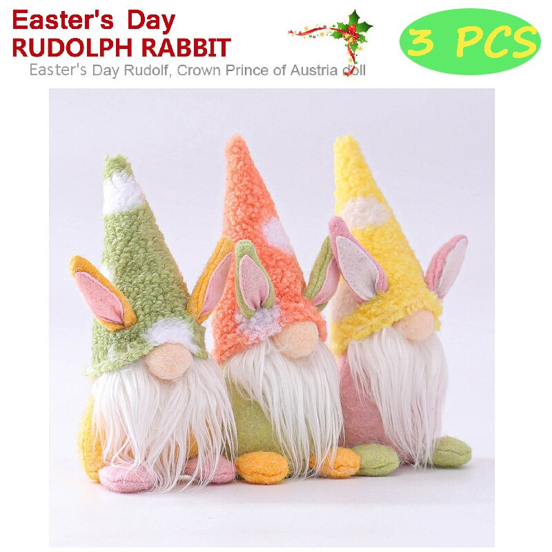 New Easter's Day Bunny Gnome Decoration Easter Faceless Doll Easter Plush Dwarf Home Party Decorations Kids Toys Standing Post