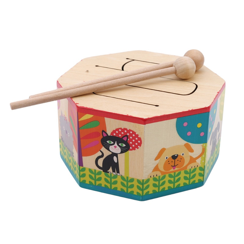 musical toys plastic drum with colorful lights 5 scales key type baby toy for 13 24 months kids educational toys for children Kids Toys Wooden Drum For Early Educational Musical Toys For Children Drum Musical Instruments Learning Puzzle Toy New