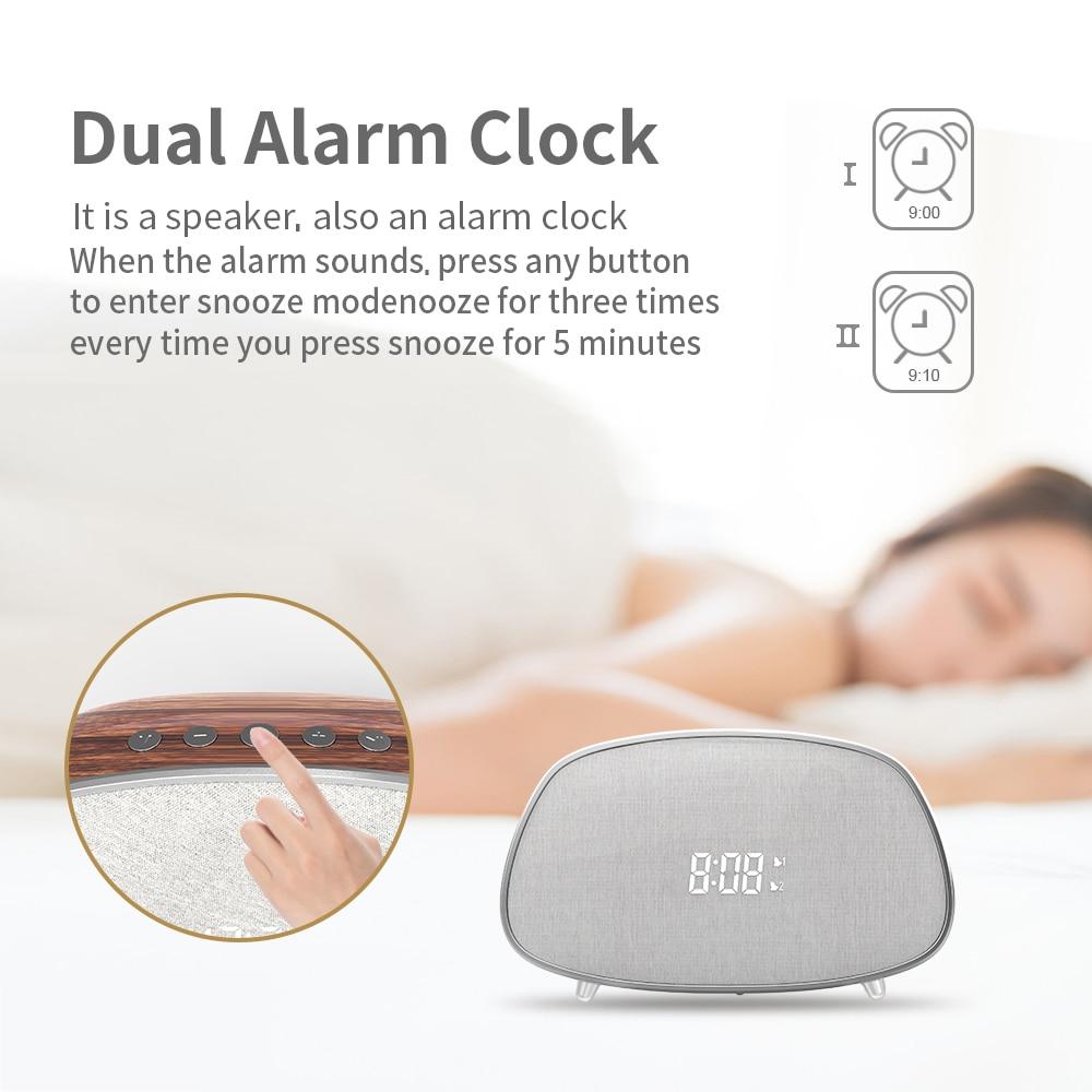 Esonstyle Retro Bluetooth Speaker Snooze Prevention Dual Alarm Clock With Digital Display Speaker Support FM Radio Loudspeaker enlarge