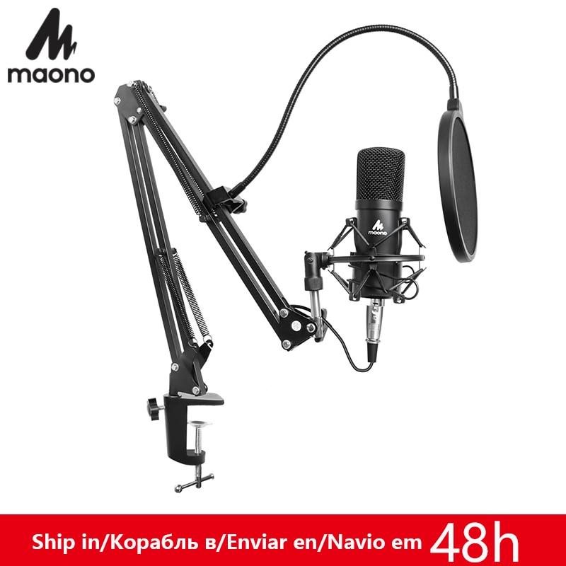 Kit de micrófono profesional MAONO de 3,5mm micrófono condensador para Audio de ordenador estudio grabación Vocal Karaoke Mic