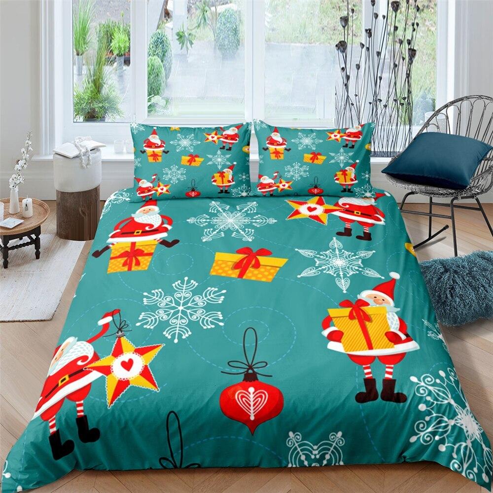 أحدث عيد ميلاد سعيد طقم سرير ثلاثية الأبعاد سانتا هو هو المطبوعة ستوكات الملكة الملك حاف الغطاء مع وسادة طقم سرير الشام s