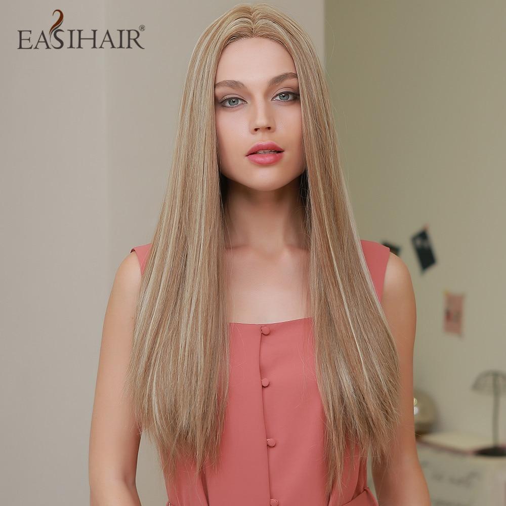 EASIHAIR-شعر مستعار أشقر طويل ناعم ، شعر مستعار أمامي من الدانتيل ، كثافة عالية ، مقاوم للحرارة ، للنساء