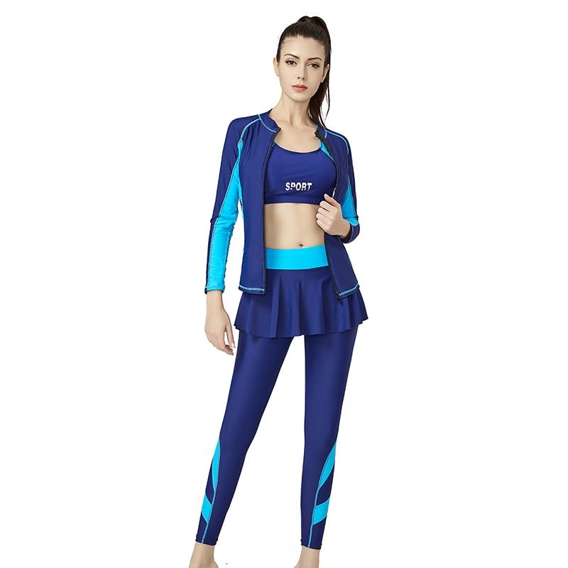 2020 New Large Size Women Three Piece Skirt Swimsuit Sport Boxers One Piece Swimwear Long Sleeve Bodysuit Long Pants Surf Suit