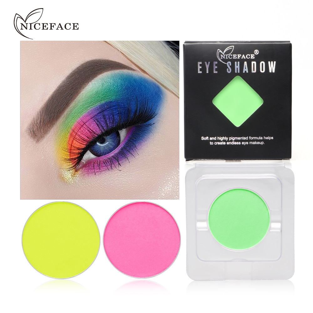 Niceface shimmer eyeshadow palette 8 colors luminous pigment green pink purple orange long lasting smooth single eyeshadow AE070
