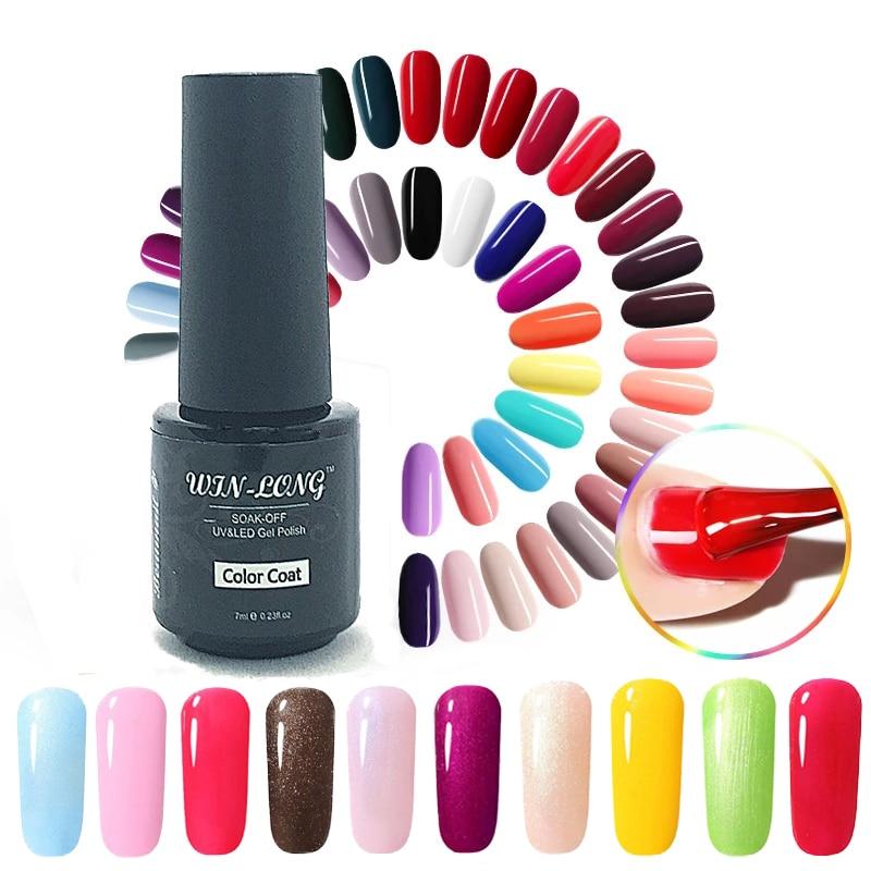 WIN-LONG 7ML Gel Nail Polish Pure Color UV Nail Varnish Shinny Soak Off Gel Polish Nail Design Kit With Base Top Gel LED Lamp недорого