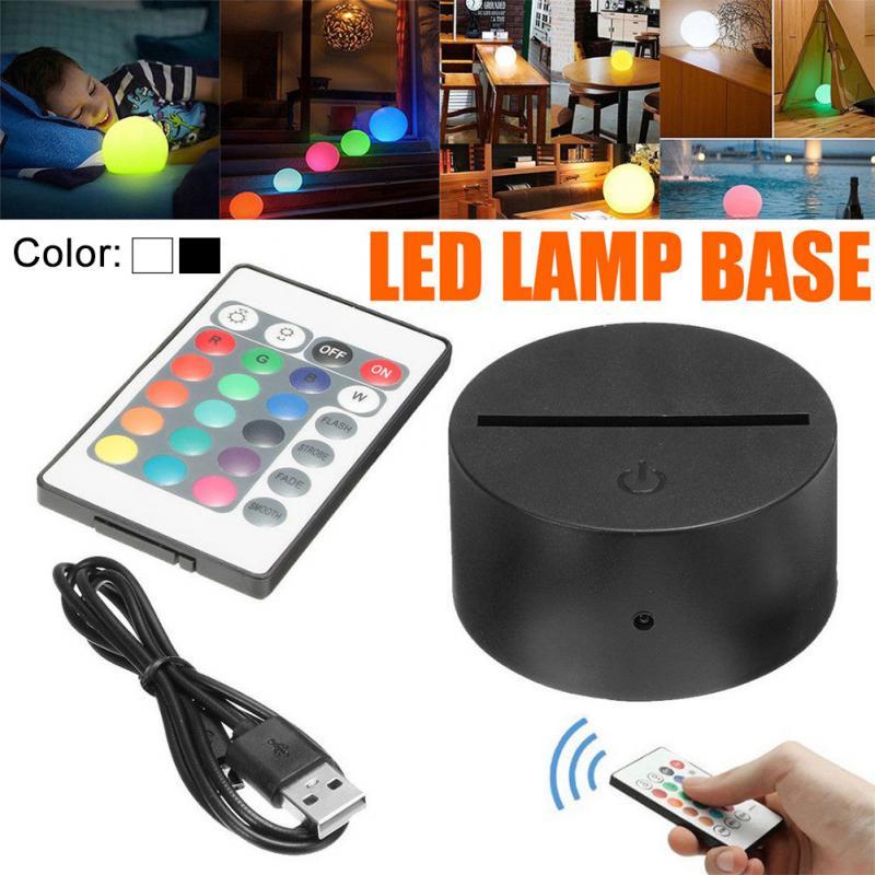 Interruptor táctil negro moderno USB Cable luz nocturna con Control remoto acrílico 3D Led lámpara de noche Base montada