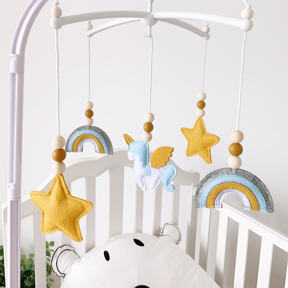 Baby Mobile Crib Rattles Toys for 0-12 Months Newborn Crib Hanging Bed Bell Hairball Rattles Rotating Holder Arm Room Decoration