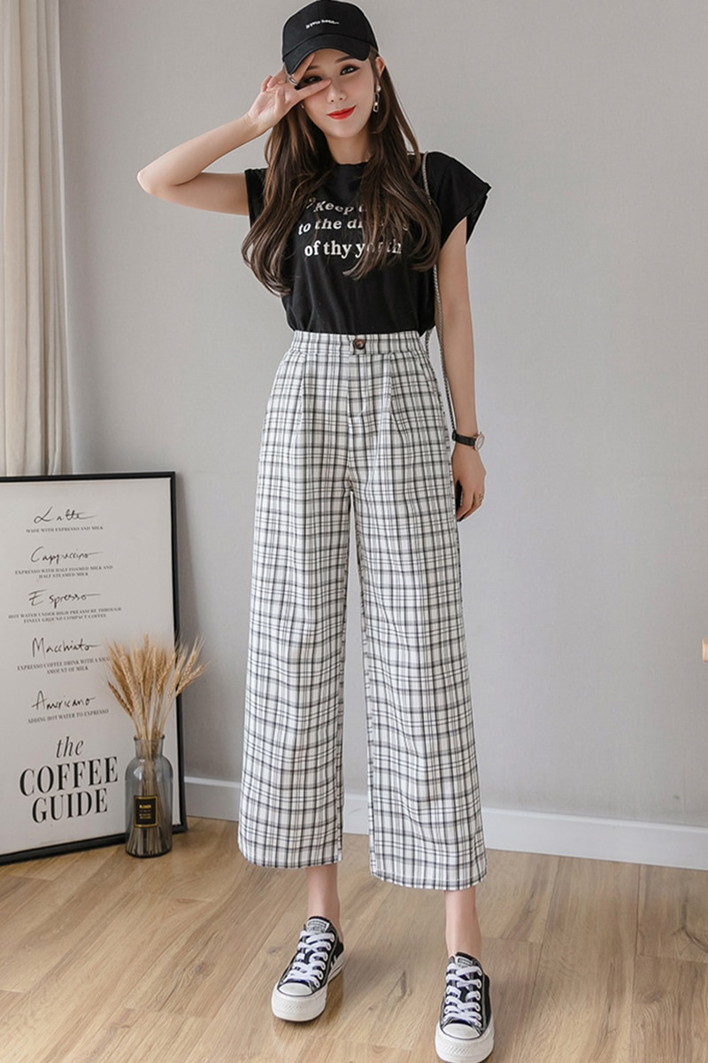 2021 Summer Plaid Casual Pants Loose Retro High Waist Hong Kong Flavor Cotton And Linen Wide-Leg Pants Korean Trousers